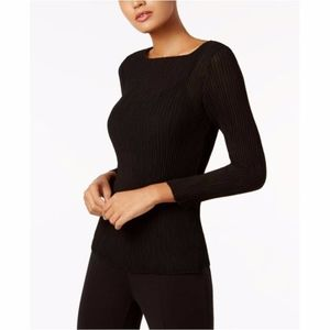 Eileen Fisher Polyester Boat Neck Pleated Top
